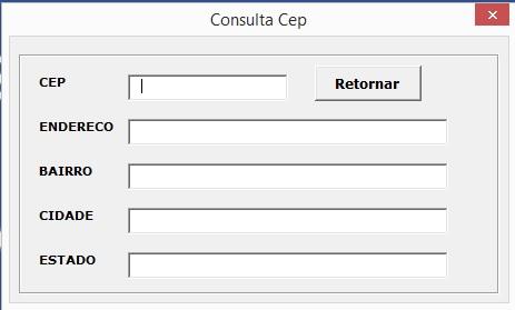 Tela de Consulta ao CEP - Como Acessar Dados da Internet Usando Programação VBA no Excel