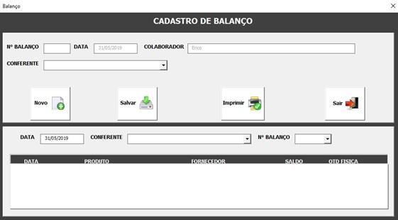 Tela de Balanço - Sistema de Controle de Estoque 2.0 em Excel VBA e MySQL