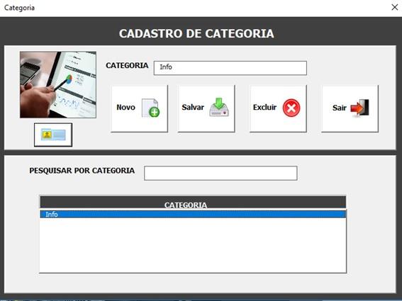 Tela de Cadastro e Administração de Categorias - Sistema de Controle de Estoque 2.0 em Excel VBA e MySQL
