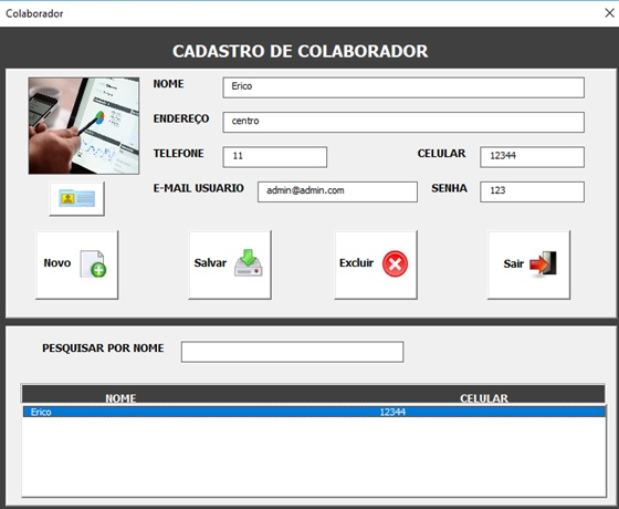 Tela de Cadastro e Administração de Usuários - Sistema de Controle de Estoque 2.0 em Excel VBA e MySQL