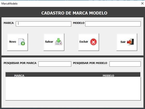 Tela de Cadastro de Marcas e Modelos - Sistema de Controle de Estoque 2.0 em Excel VBA e MySQL