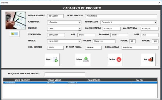 Tela de Cadastro e Administração de Produtos - Sistema de Controle de Estoque 2.0 em Excel VBA e MySQL