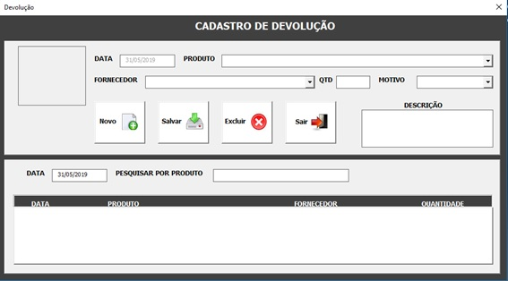 Tela de Controle de Devoluções ao Estoque - Sistema de Controle de Estoque 2.0 em Excel VBA e MySQL