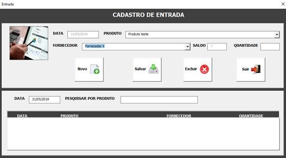 Tela de Entrada de Produtos - Sistema de Controle de Estoque 2.0 em Excel VBA e MySQL