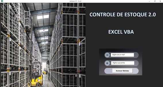 Tela de Logon - Sistema de Controle de Estoque 2.0 em Excel VBA e MySQL