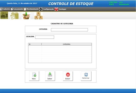 Tela de Cadastro de Categorias - Sistema de Controle de Estoque em Excel VBA e MySQL