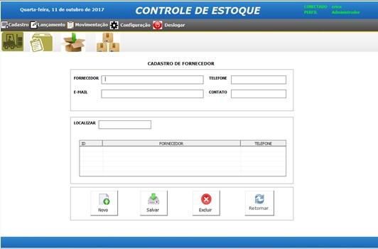 Tela de Cadastro de Fornecedores - Sistema de Controle de Estoque em Excel VBA e MySQL