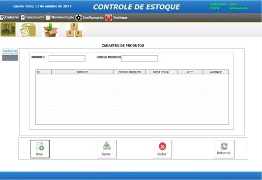 Tela de Cadastro de Produtos - Sistema de Controle de Estoque em Excel VBA e MySQL