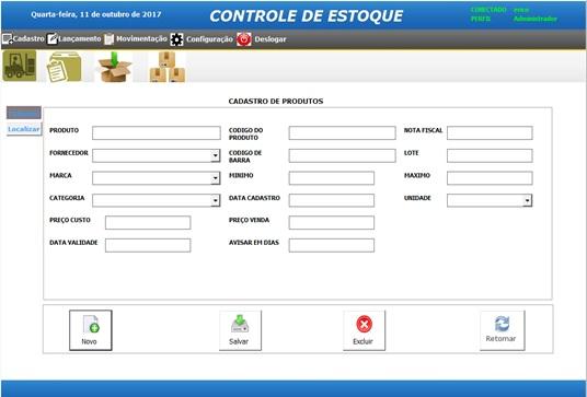 Tela de Cadastro de Produtos - Parte 2 - Sistema de Controle de Estoque em Excel VBA e MySQL