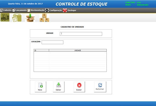 Tela de Cadastro de Unidades - Sistema de Controle de Estoque em Excel VBA e MySQL