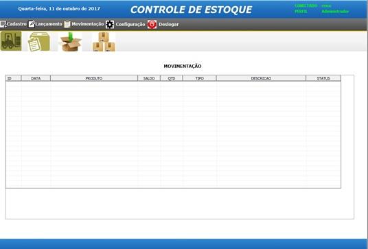 Tela de Controle de Movimentações - Sistema de Controle de Estoque em Excel VBA e MySQL