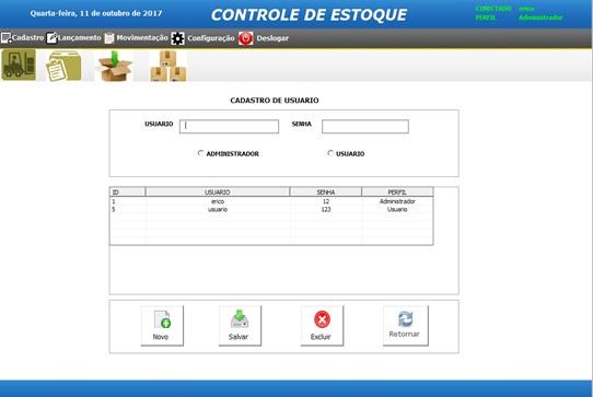 Tela de Controle de Usuários - Sistema de Controle de Estoque em Excel VBA e MySQL