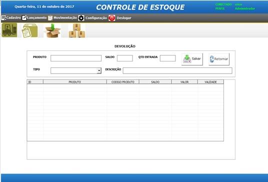 Tela de Lançamentos de Devoluções - Sistema de Controle de Estoque em Excel VBA e MySQL
