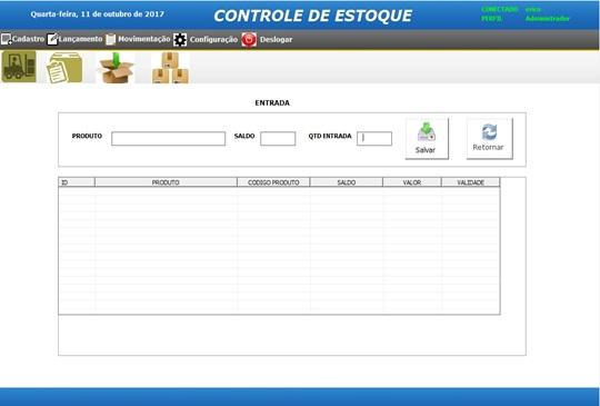 Tela de Lançamentos de Entrada - Sistema de Controle de Estoque em Excel VBA e MySQL
