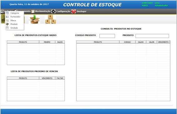 Tela Principal do Sistema - Sistema de Controle de Estoque em Excel VBA e MySQL