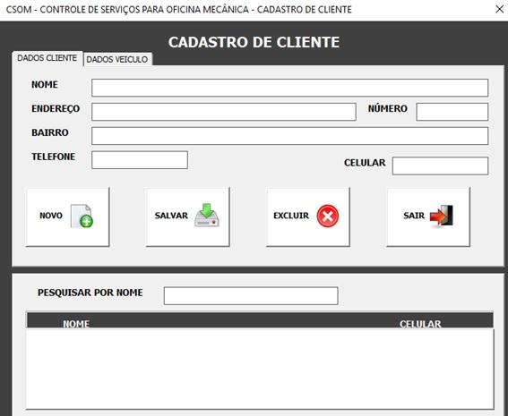 Tela de Cadastro de Clientes - Sistema de Controle de Serviços de uma Oficina Mecânica com Excel, VBA e Access, Incluindo Controle de Peças, Mecânicos e Contas a Pagar e a Receber