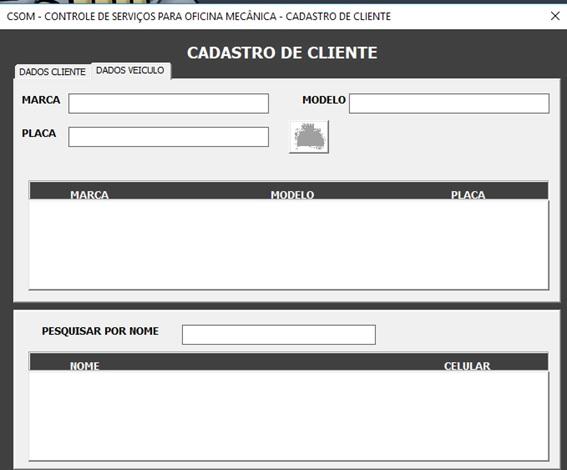 Tela de Cadastro de Veículos do Cliente - Sistema de Controle de Serviços de uma Oficina Mecânica com Excel, VBA e Access, Incluindo Controle de Peças, Mecânicos e Contas a Pagar e a Receber