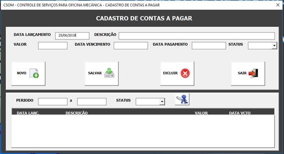 Tela de Cadastro e Controle de Contas a Pagar - Sistema de Controle de Serviços de uma Oficina Mecânica com Excel, VBA e Access, Incluindo Controle de Peças, Mecânicos e Contas a Pagar e a Receber
