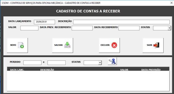 Tela de Cadastro e Controle de Contas a Receber - Sistema de Controle de Serviços de uma Oficina Mecânica com Excel, VBA e Access, Incluindo Controle de Peças, Mecânicos e Contas a Pagar e a Receber