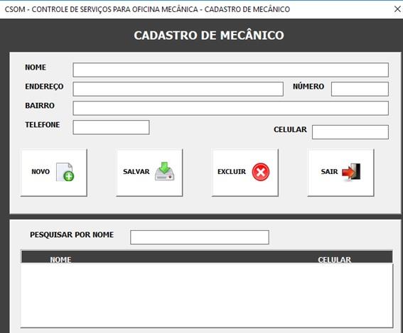 Tela de Cadastro de Mecânicos - Sistema de Controle de Serviços de uma Oficina Mecânica com Excel, VBA e Access, Incluindo Controle de Peças, Mecânicos e Contas a Pagar e a Receber