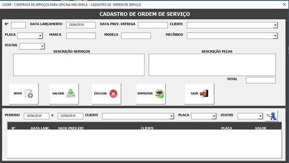 Tela de Cadastro e Controle de Ordem de Serviços - Sistema de Controle de Serviços de uma Oficina Mecânica com Excel, VBA e Access, Incluindo Controle de Peças, Mecânicos e Contas a Pagar e a Receber