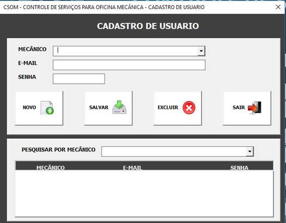 Tela de Cadastro e Administração de Usuários - Sistema de Controle de Serviços de uma Oficina Mecânica com Excel, VBA e Access, Incluindo Controle de Peças, Mecânicos e Contas a Pagar e a Receber