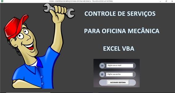 Tela de Logon - Sistema de Controle de Serviços de uma Oficina Mecânica com Excel, VBA e Access, Incluindo Controle de Peças, Mecânicos e Contas a Pagar e a Receber