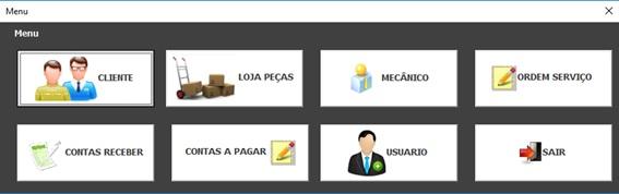 Tela Principal do Sistema - Sistema de Controle de Serviços de uma Oficina Mecânica com Excel, VBA e Access, Incluindo Controle de Peças, Mecânicos e Contas a Pagar e a Receber