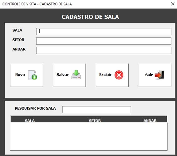 Planilha de Controle de Portaria em Excel - Controle de Entrada e Saída de Visitantes em Excel - Cadastro de Salas e Setores