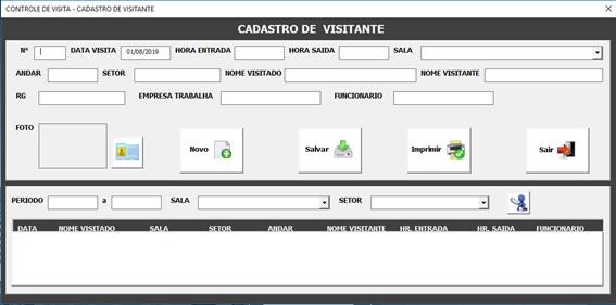 Tela de Logon - Planilha de Controle de Portaria em Excel - Controle de Entrada e Saída de Visitantes em Excel - Tela de Cadastro e Controle de Visitantes
