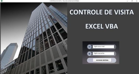 Planilha de Controle de Portaria em Excel - Controle de Entrada e Saída de Visitantes em Excel - Tela de Logon
