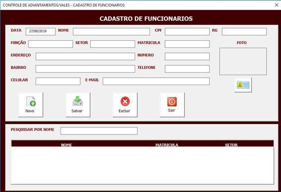 Planilha de Controle de Vales em Excel - Controle de Adiantamentos Salariais em Excel - Cadastro de Funcionários