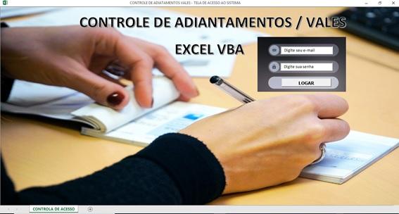 Planilha de Controle de Vales em Excel - Controle de Adiantamentos Salariais em Excel - Tela de Logon
