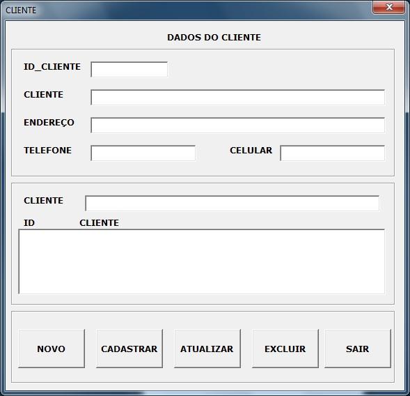 Tela de Cadastro de Clientes - Sistema de Controle de Vendas em Excel VBA