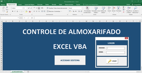 Tela de Entrada - Sistema Completo de Controle de Almoxarifado no Excel com VBA e MySQL