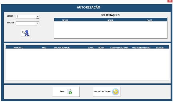 Formulário Para Cadastro de Autorizações - Sistema Completo de Controle de Almoxarifado no Excel com VBA e MySQL