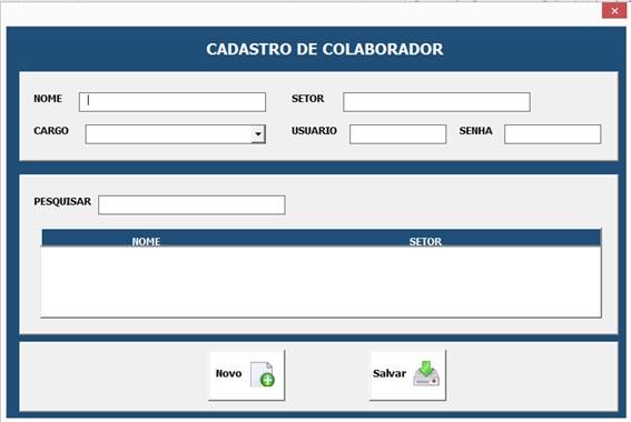 Formulário Para Cadastro de Colaboradores - Sistema Completo de Controle de Almoxarifado no Excel com VBA e MySQL