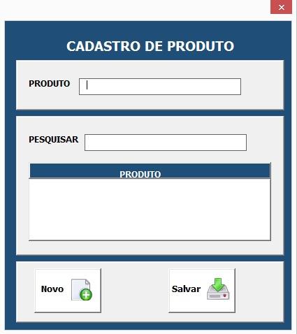 Formulário Para Cadastro de Produtos e Materiais - Sistema Completo de Controle de Almoxarifado no Excel com VBA e MySQL