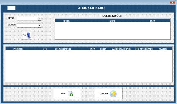 Tela de Liberação de Produtos e Materiais - Sistema Completo de Controle de Almoxarifado no Excel com VBA e MySQL