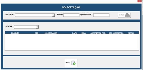 Formulário Para Cadastro de Solicitações - Sistema Completo de Controle de Almoxarifado no Excel com VBA e MySQL