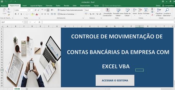 Tela de Entrada - Planilha de Controle Bancário Empresarial com Excel e VBA - Controle de Movimentações Bancárias