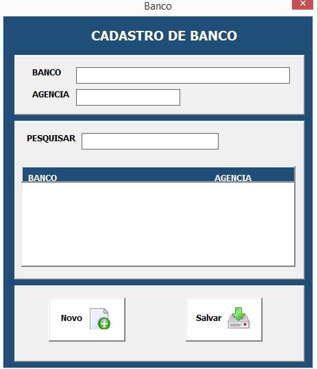 Formulário Para Cadastro de Bancos - Planilha de Controle Bancário Empresarial com Excel e VBA - Controle de Movimentações Bancárias