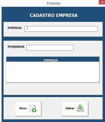 Formulário Para Cadastro da Empresa - Planilha de Controle Bancário Empresarial com Excel e VBA - Controle de Movimentações Bancárias