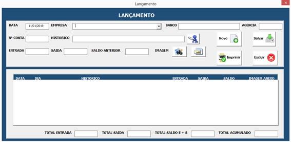 Formulário Para Cadastro de Lançamentos com a Imagem do Comprovante - Planilha de Controle Bancário Empresarial com Excel e VBA - Controle de Movimentações Bancárias