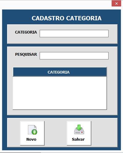 Formulário Para Cadastro de Categorias de Contatos - Sistema Completo de Controle de Contatos e Compromissos