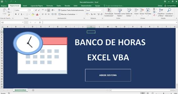 Tela de Entrada - Sistema de Controle de Horas a Compensar em Excel e VBA