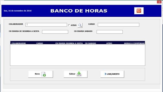Formulário de Cadastro de Colaboradores - Sistema de Controle de Horas a Compensar em Excel e VBA
