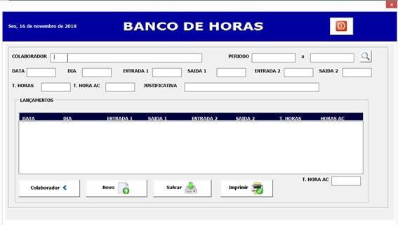 Formulário de Cadastro de Horas Trabalhadas - Sistema de Controle de Horas a Compensar em Excel e VBA