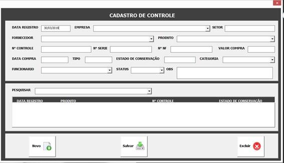 Formulário de Cadastro de Controles - Sistema Completo de Controle Patrimonial com Excel VBA e Access