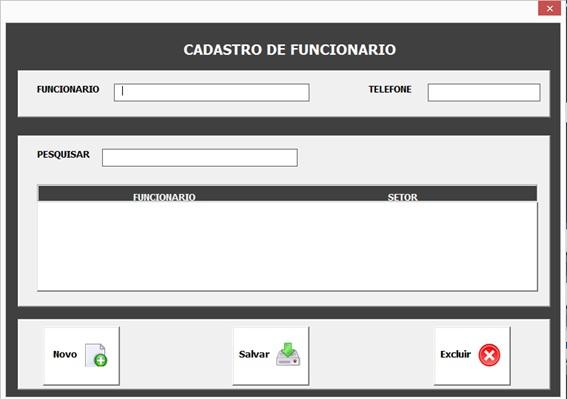 Formulário de Cadastro de Funcionários - Sistema Completo de Controle Patrimonial com Excel VBA e Access